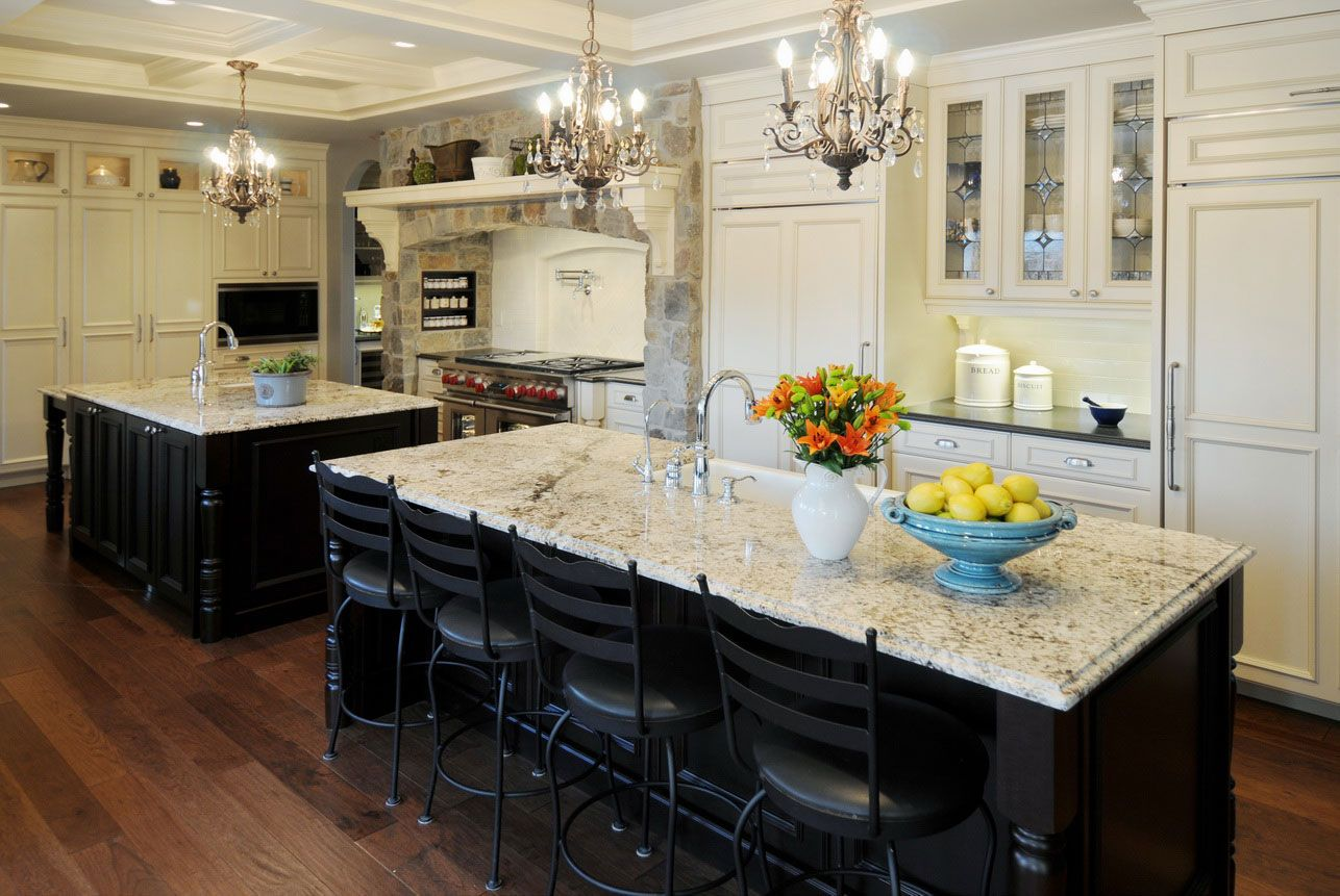 Country style kitchen develop into one of stylish black white style