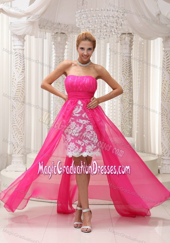 Hot Pink High-low Ruched 5th Grade Graduation Dresses with Lace ...