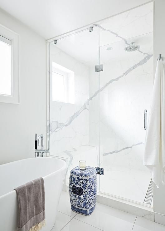 Feel Right At Home In This Gorgeous Bathroom Featuring A Blue