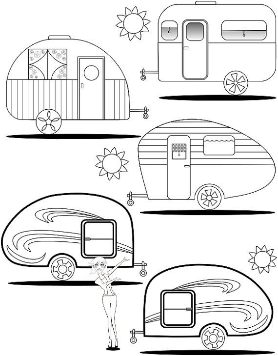 Adult Coloring Page Teardrop Trailers Coloring Pages Camping