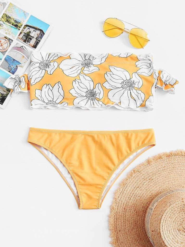 c27bf620240a8 Cute Flower Print Off Shoulder Frill Bikini Set in 2019