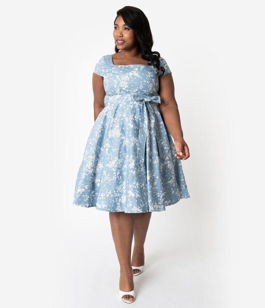 73b092921de Plus Size Retro Style Light Blue   Ivory Dainty Floral Cap Sleeve Anna Swing  Dress