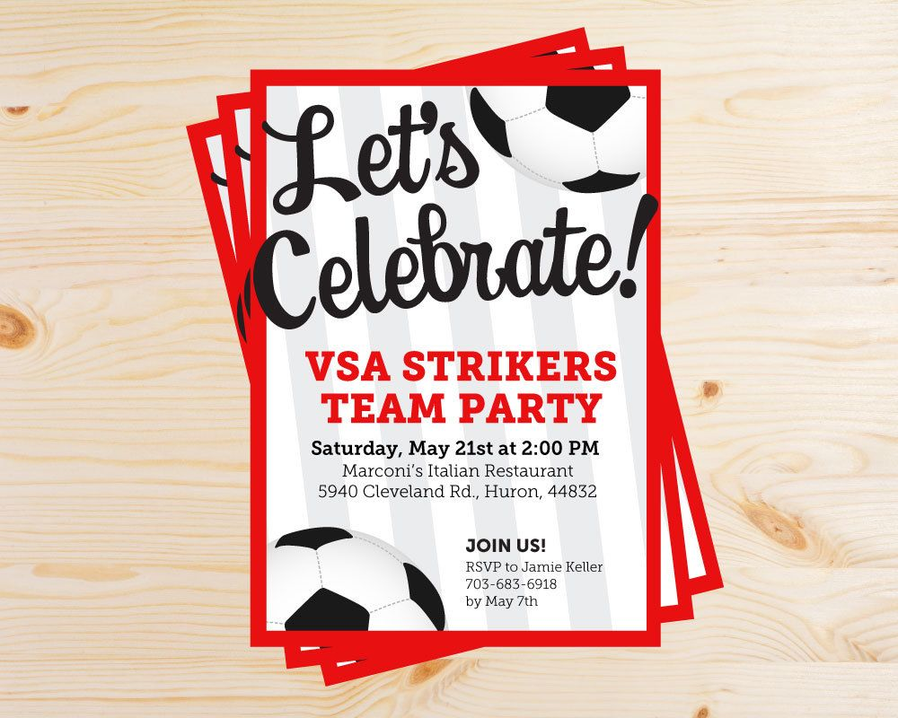 Editable Soccer Team Party Invitations - INSTANT DOWNLOAD