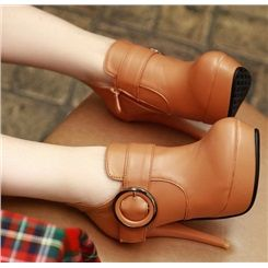 Simple Buckle Solid Color Ankle Boots