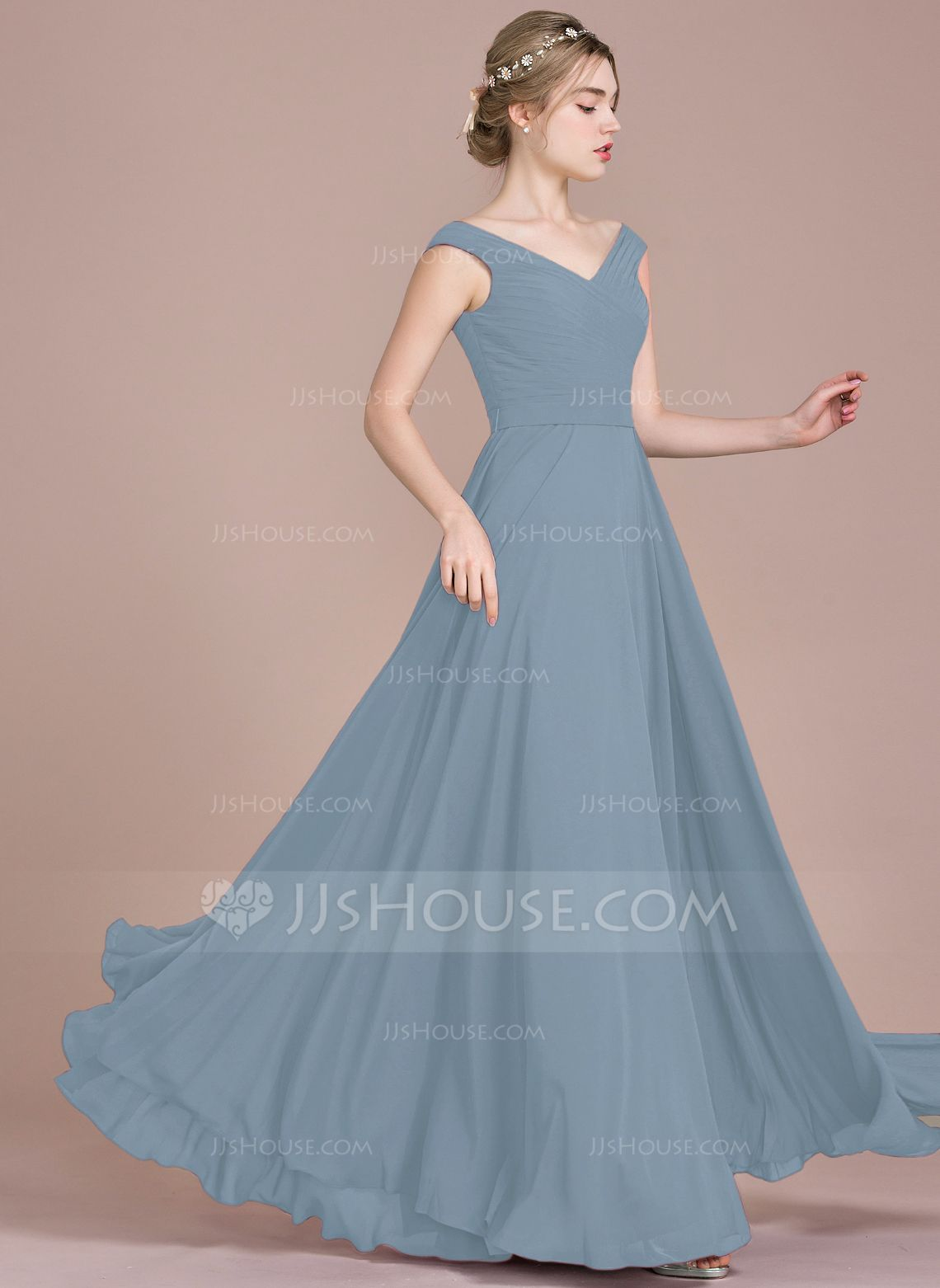 1e984aebe35 A-Line Princess Off-the-Shoulder Floor-Length Chiffon Bridesmaid Dress With  Ruffle (007104732) - Bridesmaid Dresses - JJ s House