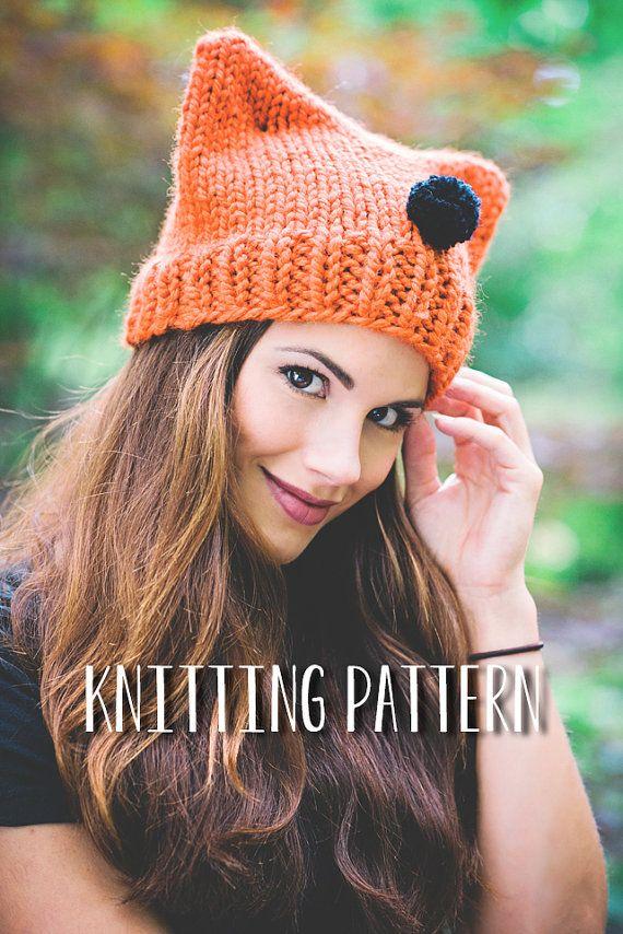 Easy Hat Knitting Pattern Cat Ear Beanie Pdf Knitting Pattern
