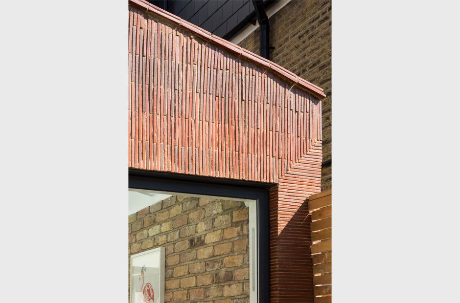 Yard Architects Stacked Clay Creasing Tiles With Original Brick To Create Rear Elevation Of Infill Extension