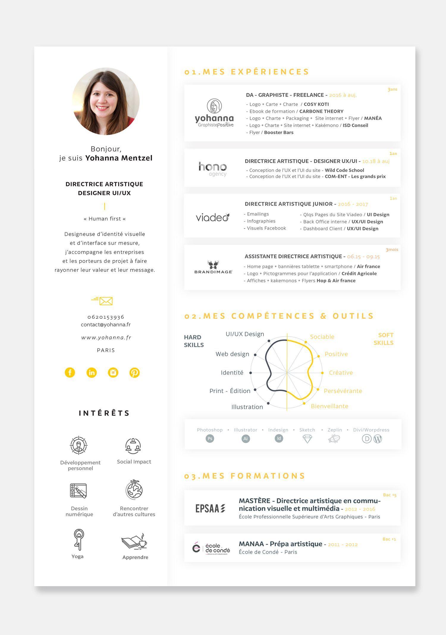 Cv Yohanna Mentzel 2018 Graphiste Positive Www Resume Design Creative Resume Design Resume Design Free