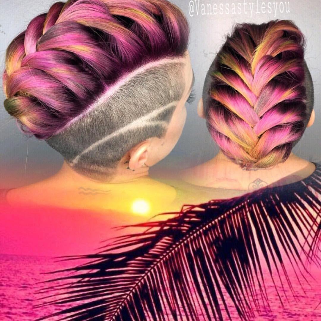 Sunset hair braid beautiful shorthair undercut pinkhair