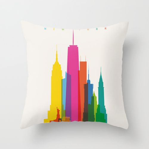 Shapes of NYC in Scale Throw Pillow