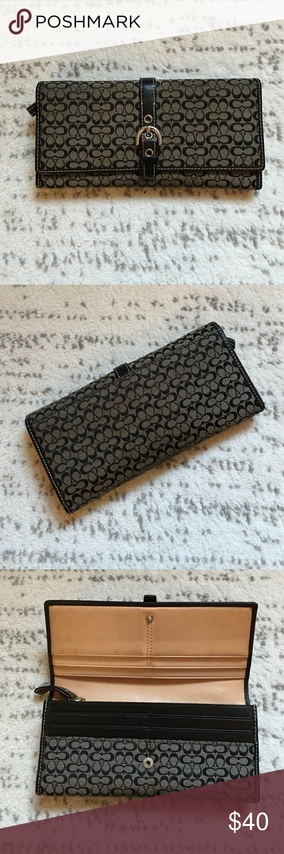 Authentic coach wallet Authentic coach wallet! (Matching purse in other post). Perfect every day wallet with lots of pockets. Outside pocket on the back. ❤️ Coach Bags Wallets
