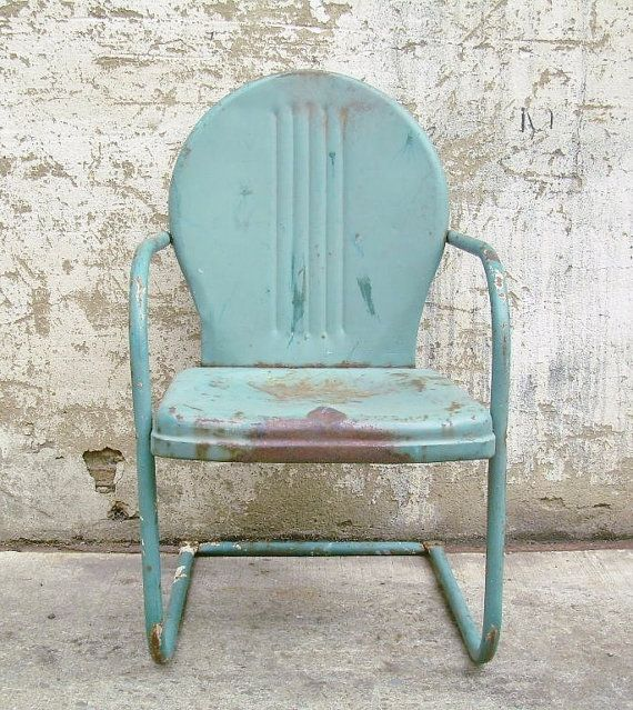 Retro metal lawn chair teal rustic vintage porch furniture for Retro outdoor furniture