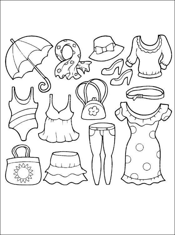 Summer clothing coloring page coloring pages shrinky for Clothing coloring page