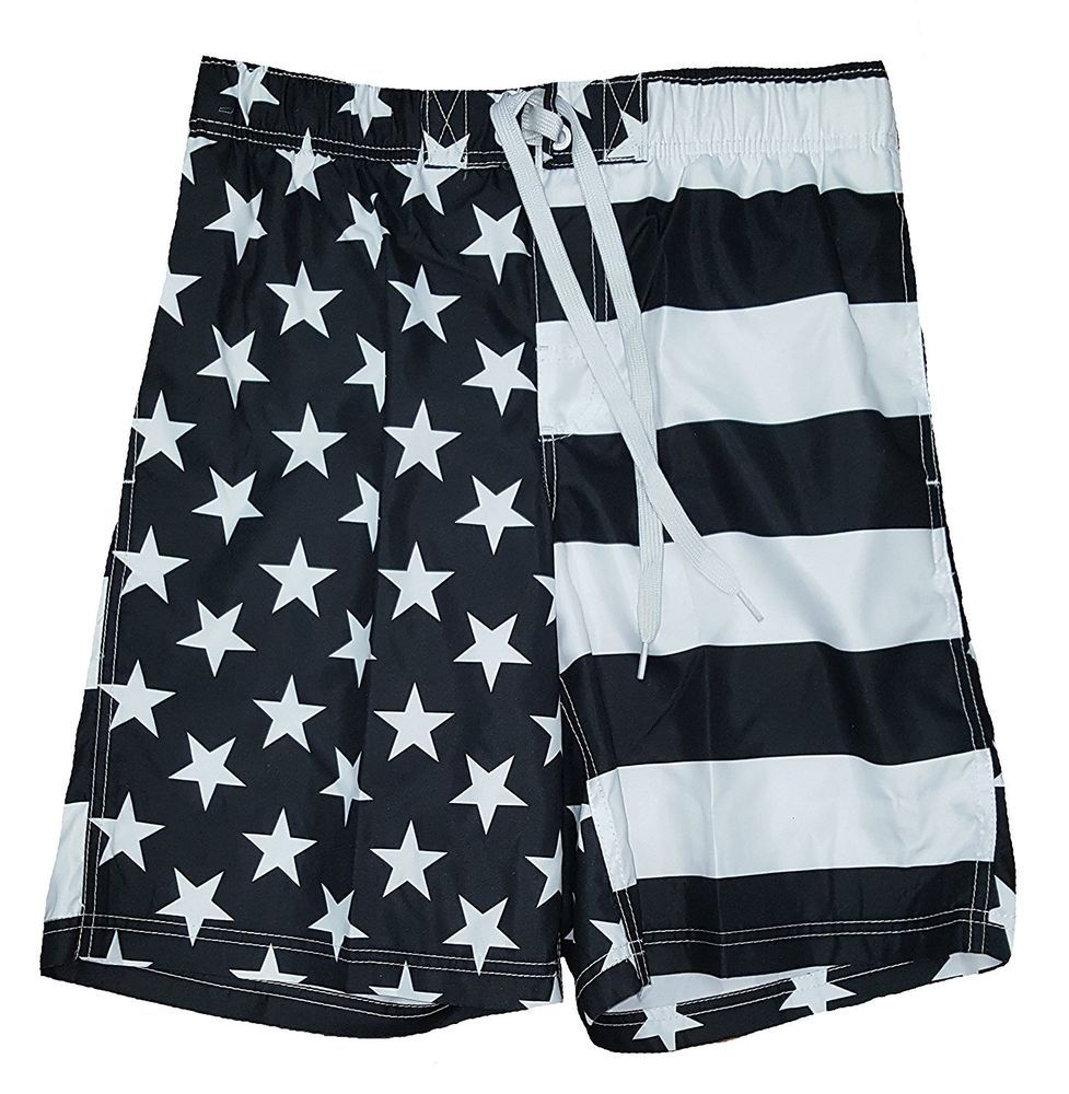 a99d9e81366c Men's Patriotic USA American Flag Swim Trunks L 36-38 Black White ...