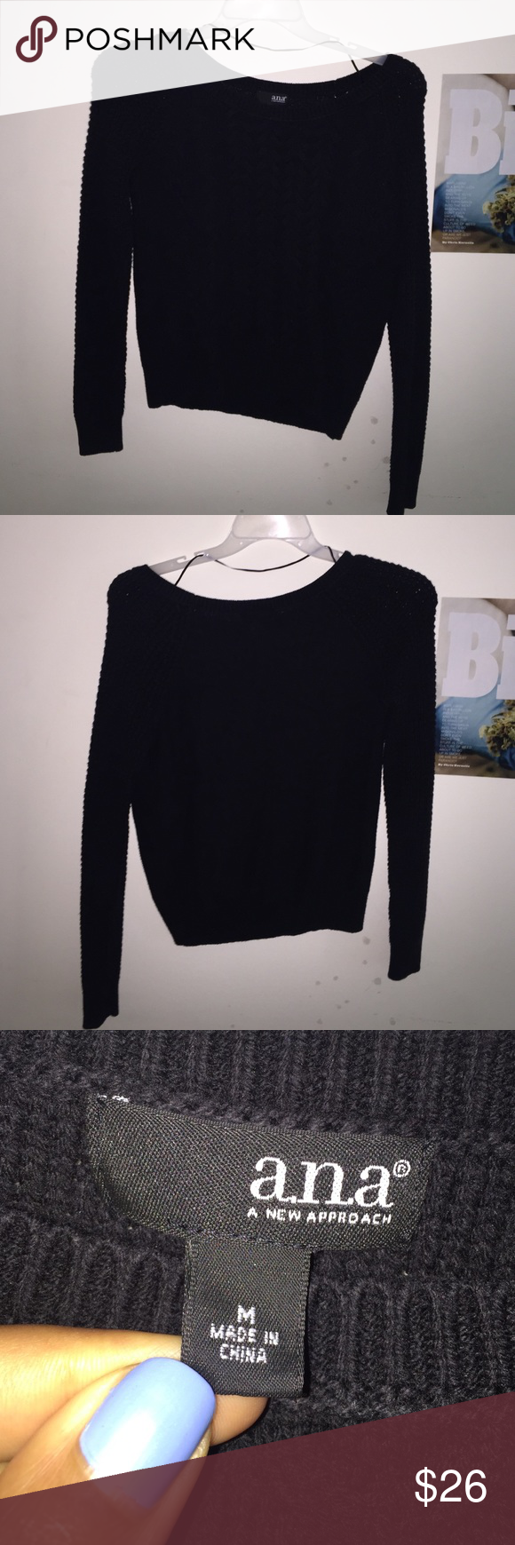 All black sweater ( scoop neck ) Very soft ! All black sweater ...
