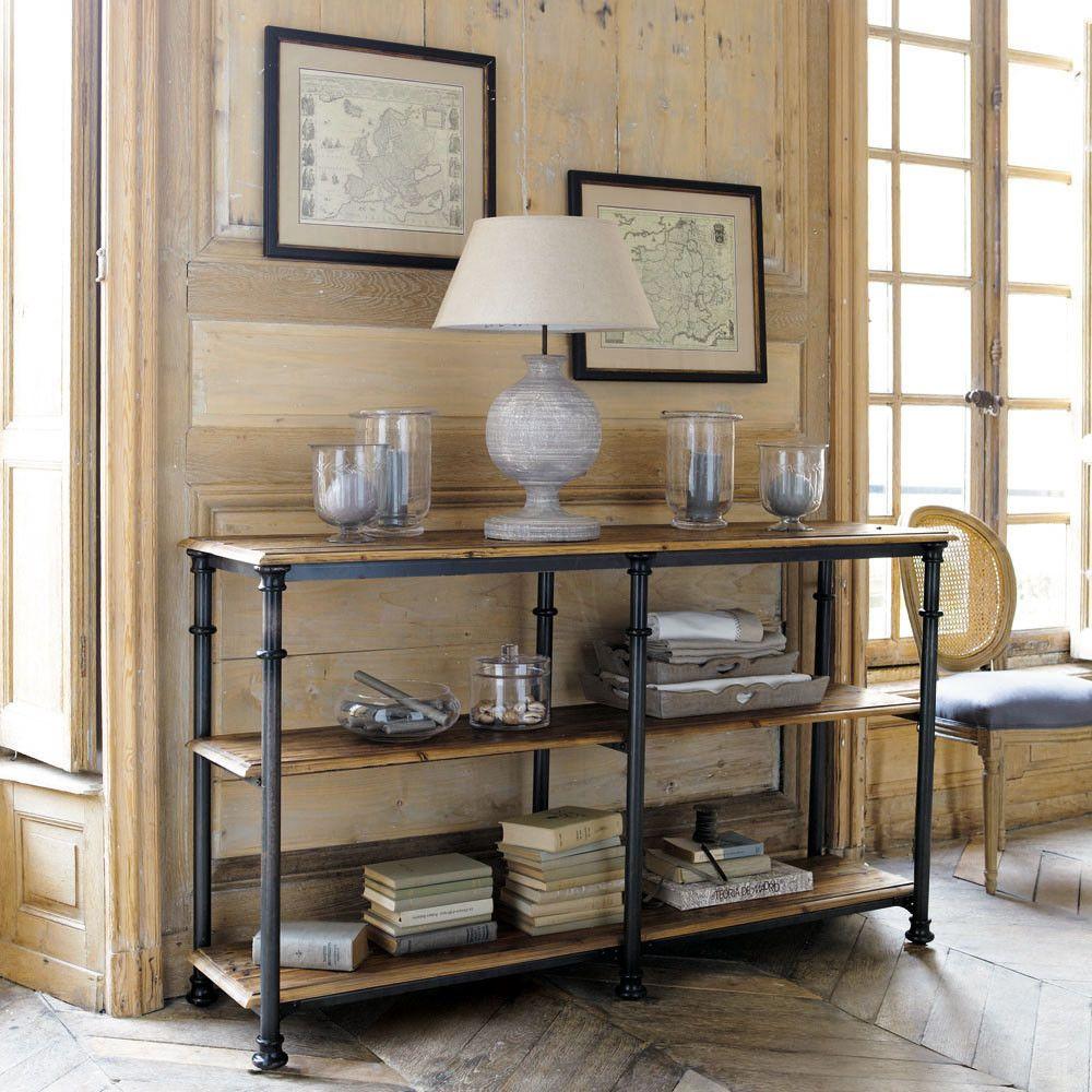 konsolentisch aus metall und massivem recyclingholz b 160 cm schwarz fontainebleau eisendeko. Black Bedroom Furniture Sets. Home Design Ideas