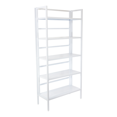 White Steel 5 Tier Folding Bookshelf
