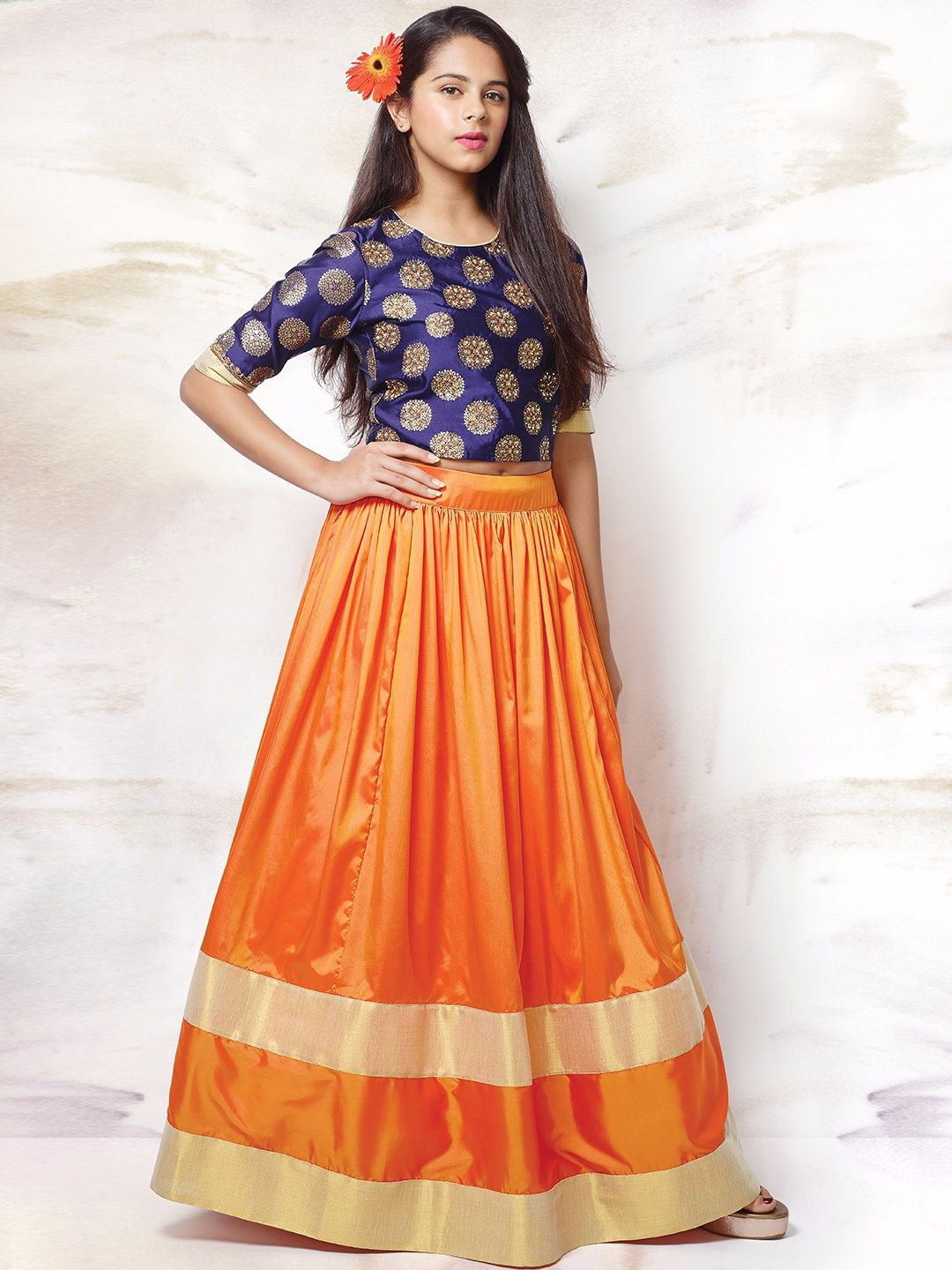 G3 Exclusive Silk Party Wear Orange Girls Circular Lehenga