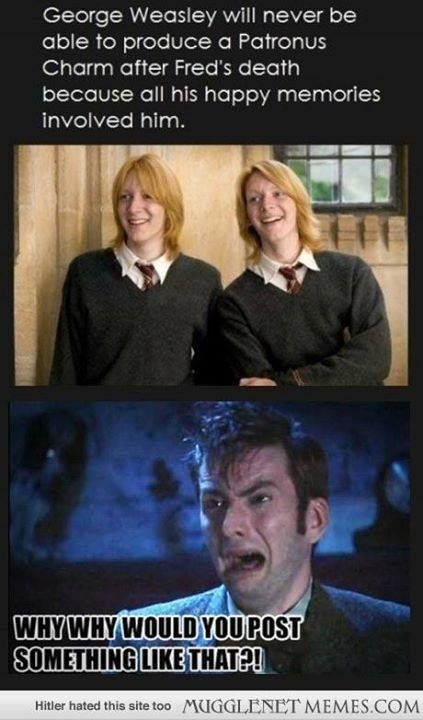 Just Stab My Feels And Roll Them Through Glass Why Don T You Goes To Cry Realizes She Cries A Lot George Weasley Fred And George Weasley Harry Potter Funny