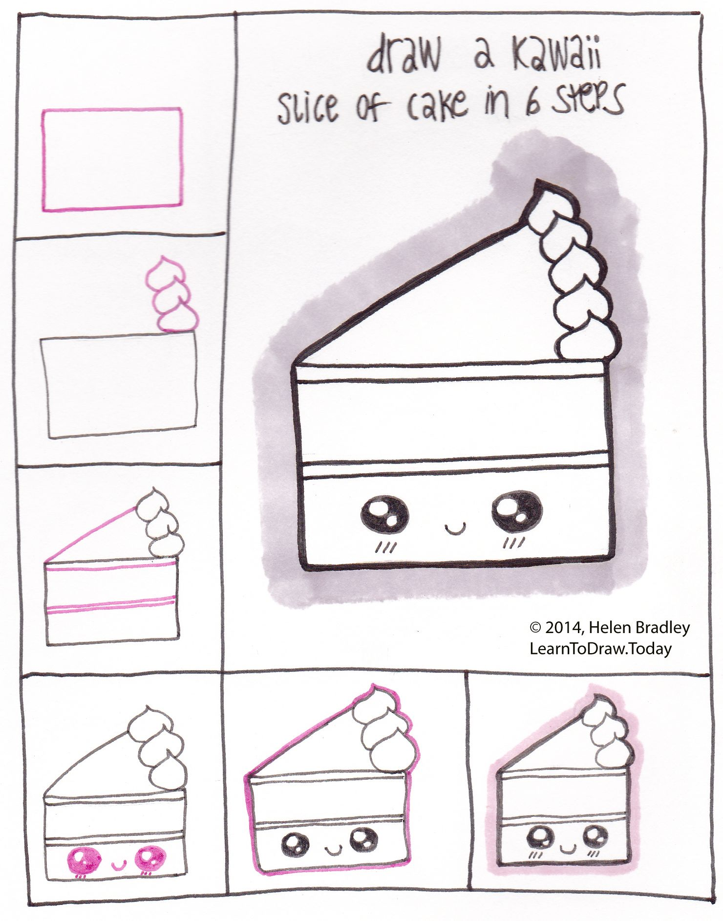 Draw kawaii style cake in 6 steps kawaii and doodles for Drawing ideas for beginners step by step