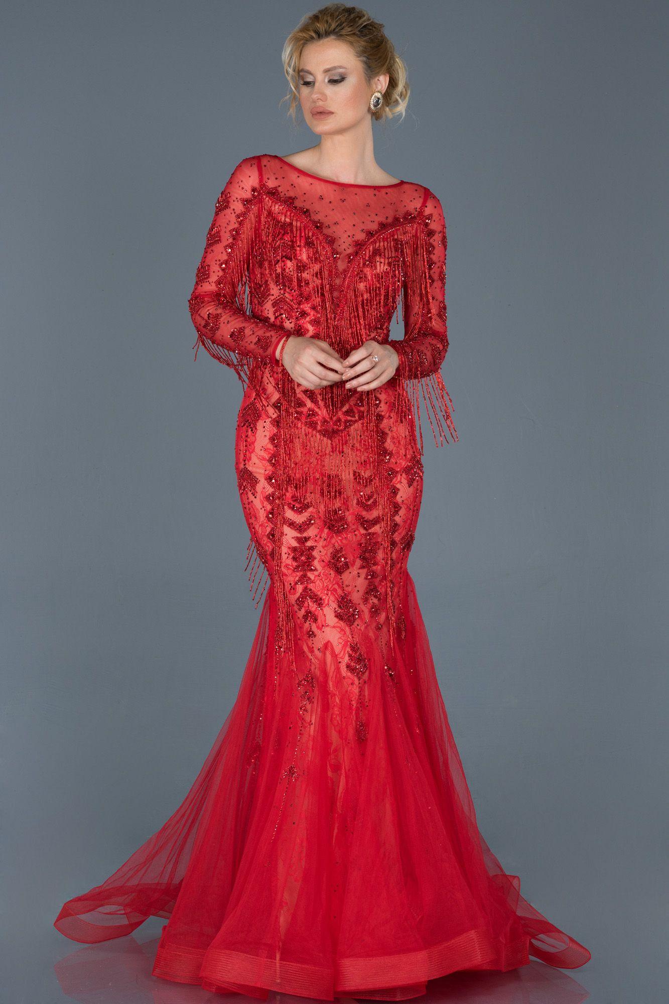 Kirmizi Uzun Tasli Ozel Tasarim Abiye Abu805 2020 The Dress Moda Stilleri Dress Up
