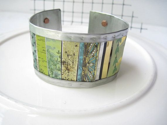 Blue and Green Mixed Tin Cuff10th by eaststreettins on Etsy, $46.00
