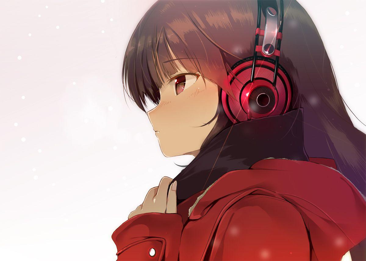 Anime Headphones And Nightcoreish Anime Art Beautiful Girl With Headphones Anime