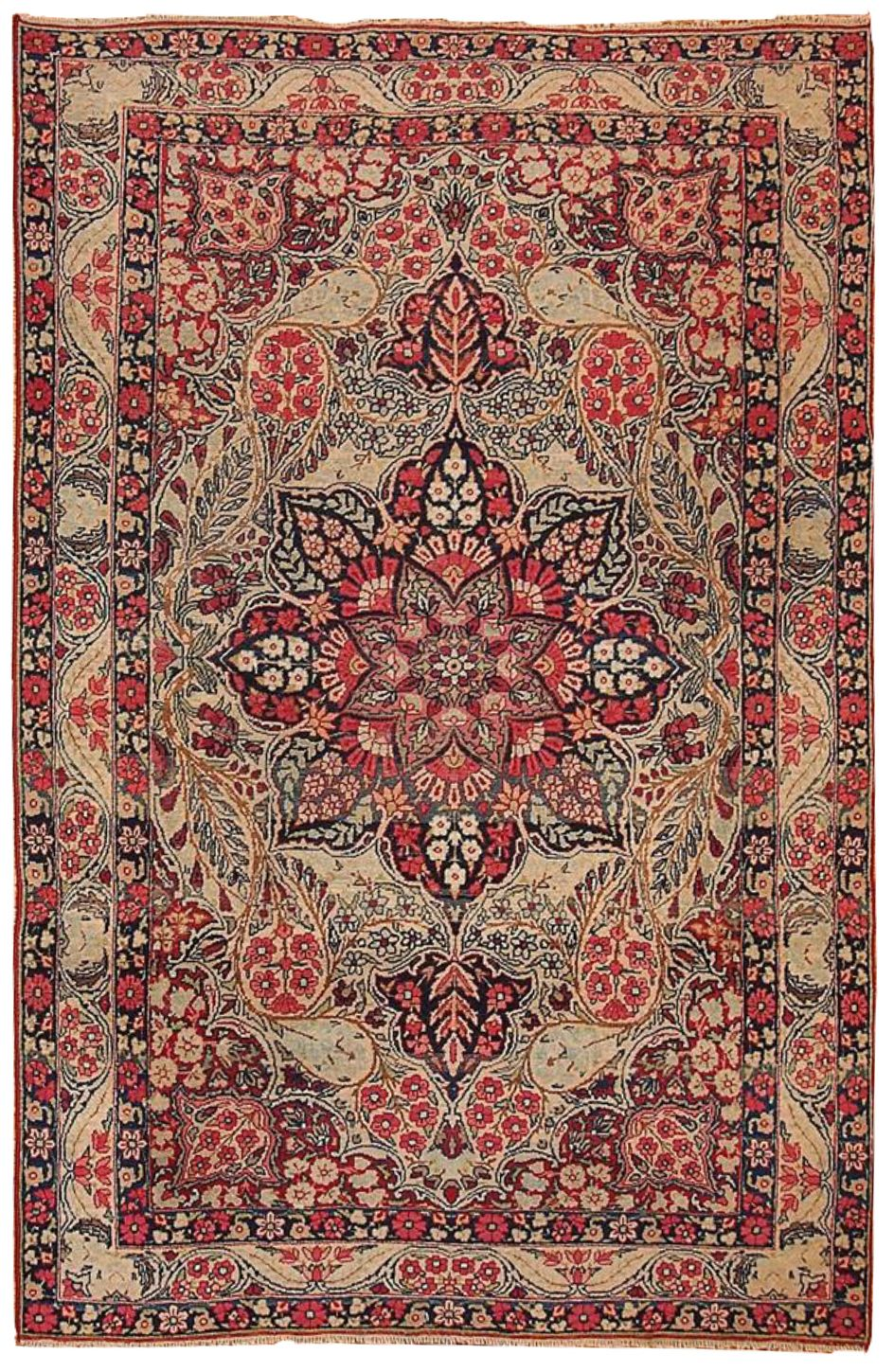 Antique Persian Kerman Lavar Rug