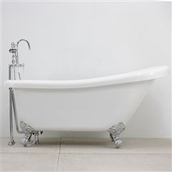 "Photo of 57"" Hotel Collection Single Slipper Clawfoot Tub & Faucet Pack"