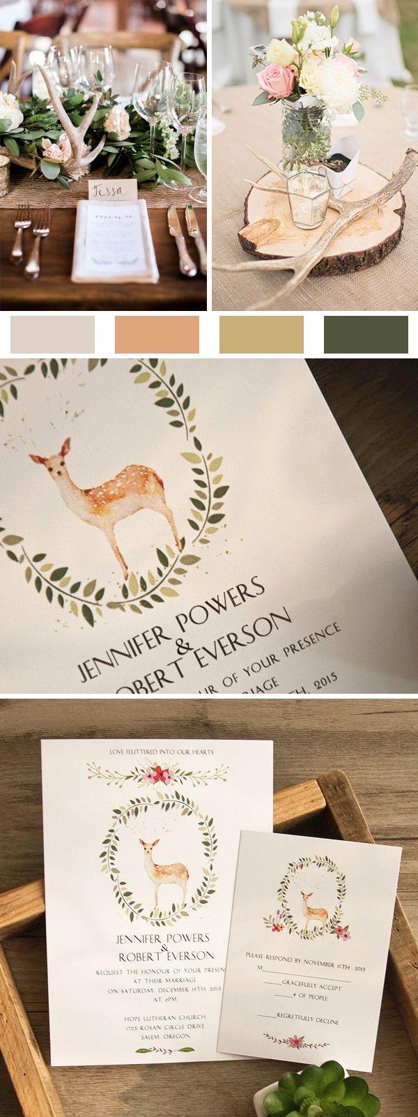 Rustic Boho Deer Wedding Invitations Ewi413 Boho Weddings And Wedding