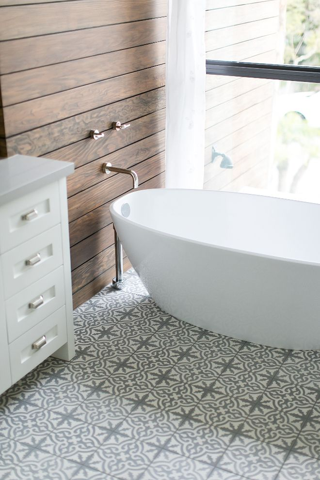 Bathroom Cement Tile Stained Shiplap Walls Freestanding Bath And