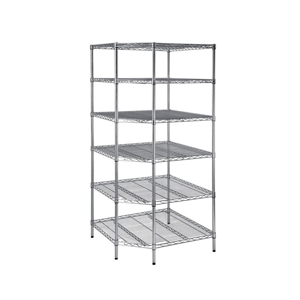 Hdx 6 Shelf 33 In W X 72 H D Decorative Chrome Heavy Duty Corner Shelving Unit Hd24crcps The Home Depot