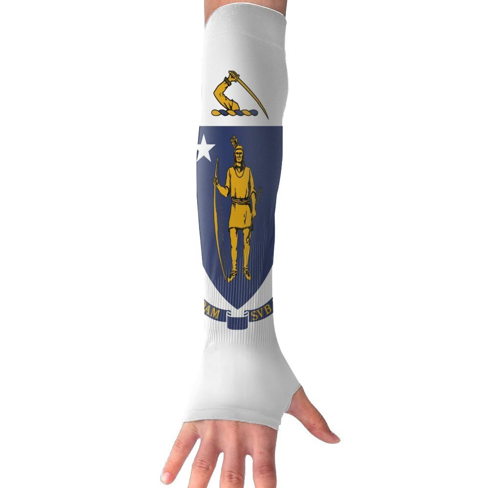Canoeing Lzvong Arm Sleeves Massachusetts Flag Gloves Antiuv Sun Protection Hand Cover You Can Get Additional Details At Arm Sleeve Sun Protection Gloves