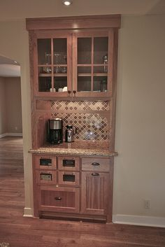 Turning A Built In China Cabinet Into A Wet Bar Hmmm Home Coffee Stations Home Home Decor