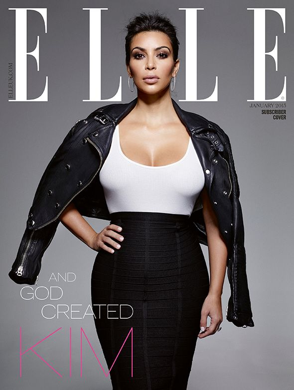 Kim Kardashion - One of three covers Elle UK January 2015 Photo: Jean Baptiste Mondino V