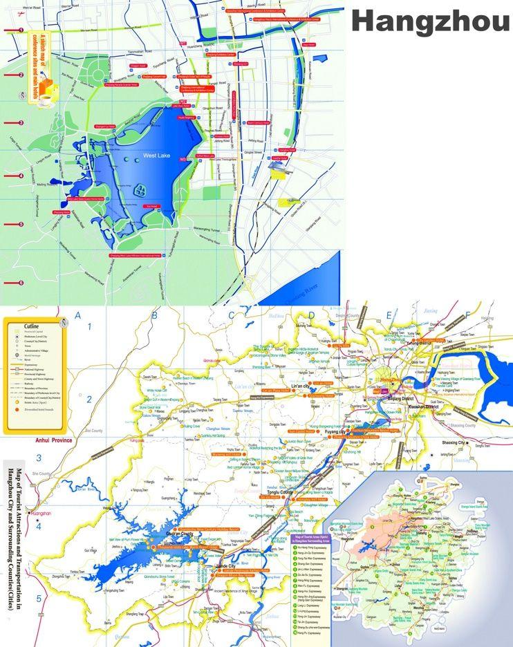Hangzhou tourist map Maps Pinterest Tourist map and City