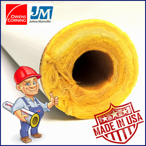 Fiberglass Pipe Insulation for Steam, Hot and Cold Water
