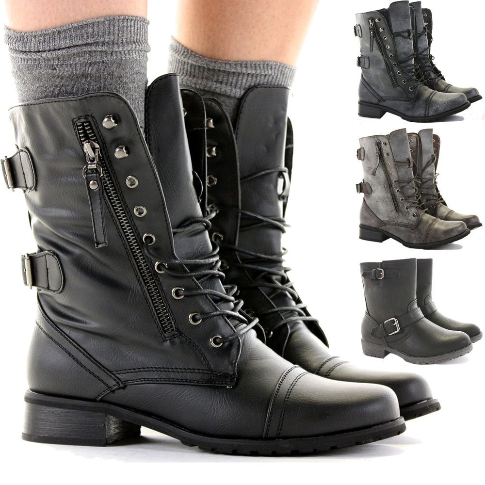 Ladies Combat Style Boots - Cr Boot