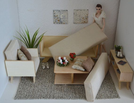 Miniature living room diorama _1 6 scale for by FashionDollStore - barbie wohnzimmer möbel