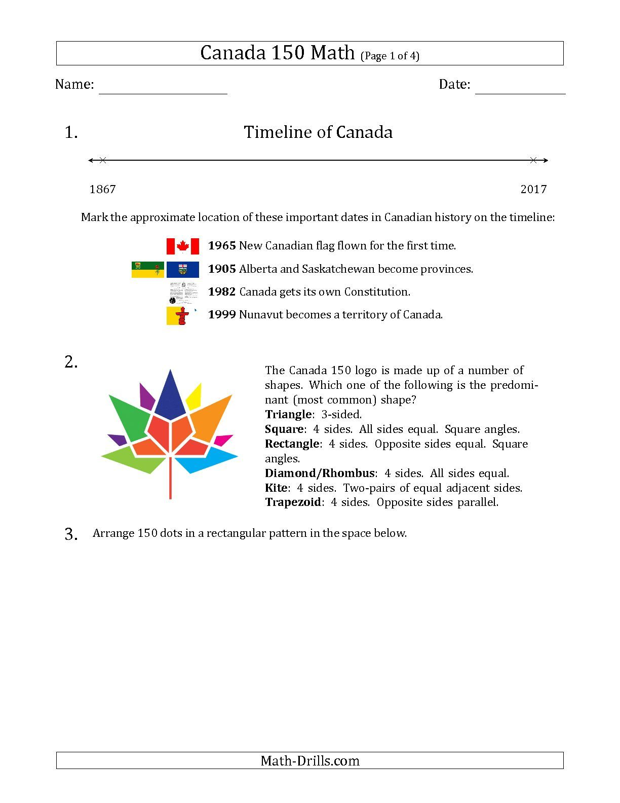 Free Printable Math Drills With Canada As A Theme Timelines Word Problems Etc