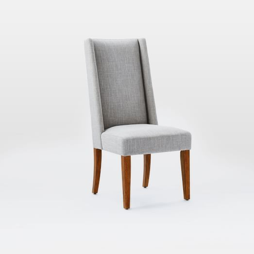Willoughby Dining Chair Single Linen Weave Platinum Walnut Best Single Dining Room Chair Design Inspiration