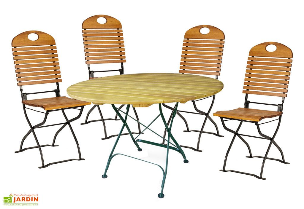 Salon de Jardin en Bois Pliable Bistro : Table Ronde + 4 ...