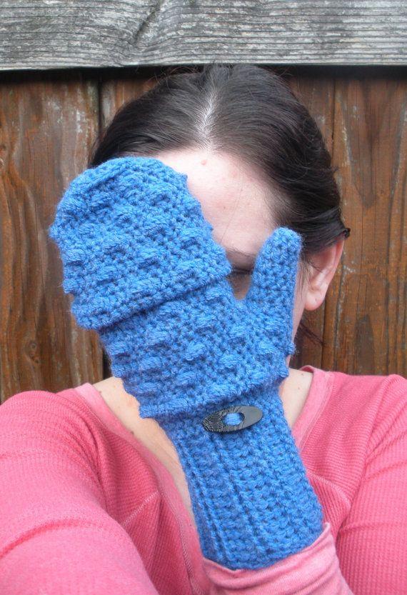 Convertible Mittens in Vibrant Blue crochet fingerless by luvbuzz ...