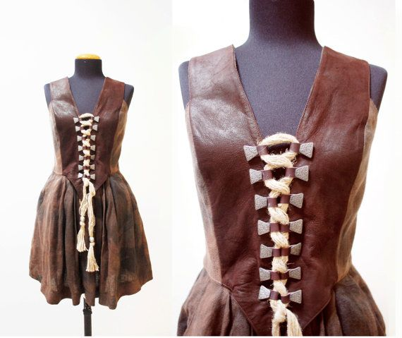 super cool vintage brown lace up leather Bustier Corset available at  Skomoroki on #Etsy