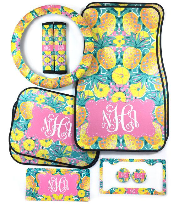Car Accessories, Car Accessories for Women, Monogram Car Accessories, Available in Steering Wheel Cover, Car Seats, Licence Plate, Lilly
