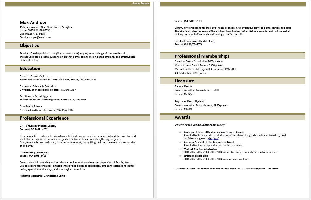 Dental Resume Samples Dentist Resume Dentist Resume Free Resume Examples Good Resume Examples