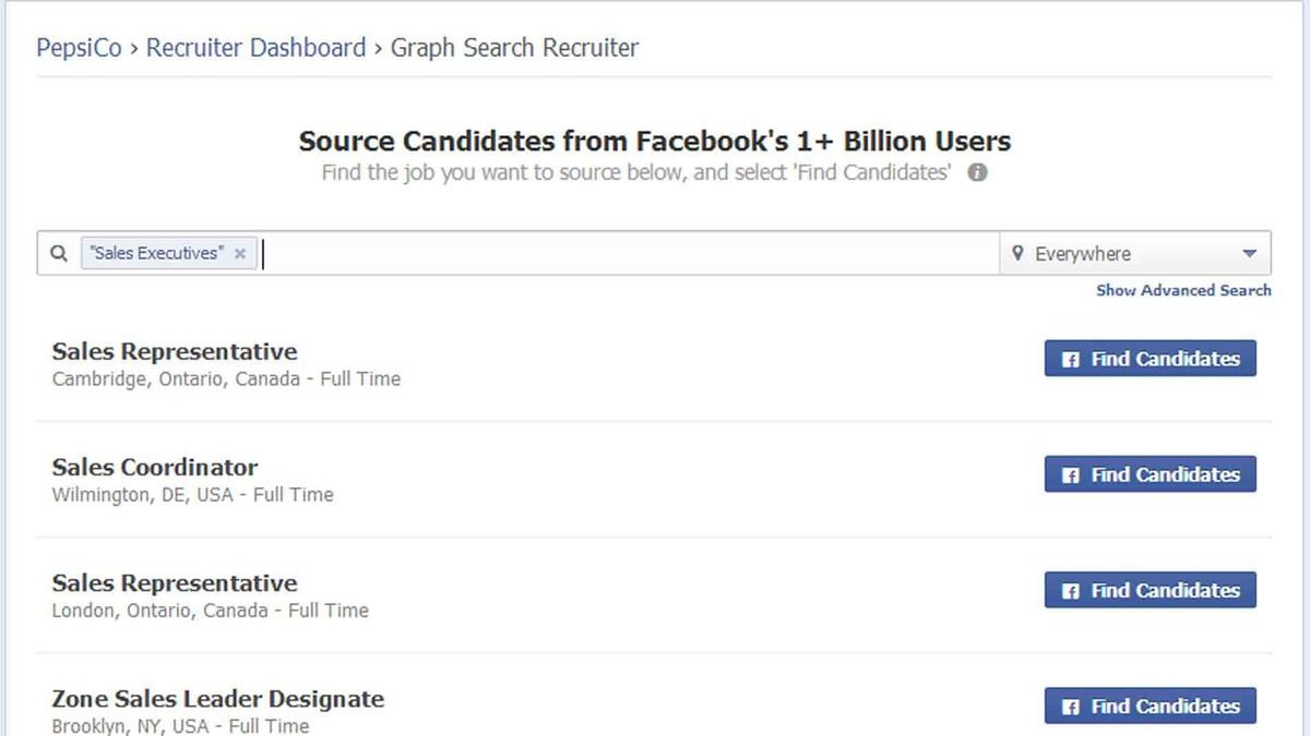 New Recruiting Tool Leverages Facebook S Graph Search Job Recruiters Search Employer Branding