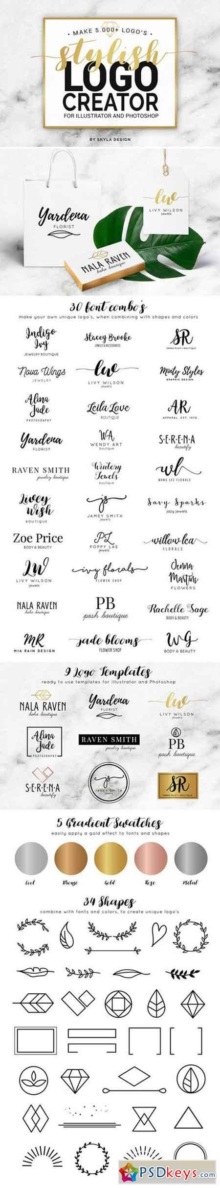 Stylish Logo Creator Ai  Ps   Typography    Ps