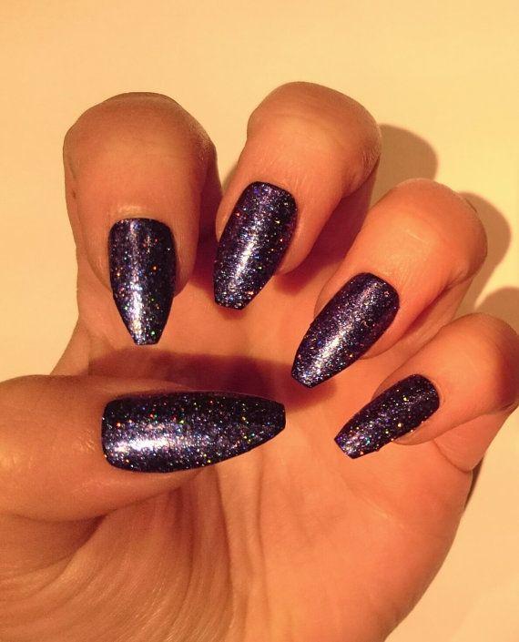 Purple Coffin False Nails Short / Glitter Fake Nails /Matte ...