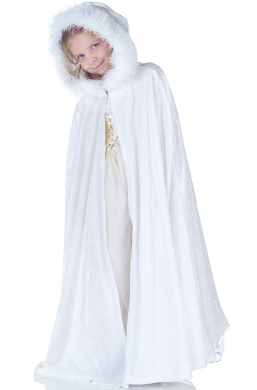 White Panne Costume Cape With Fur Trim Is As Pure As Snow